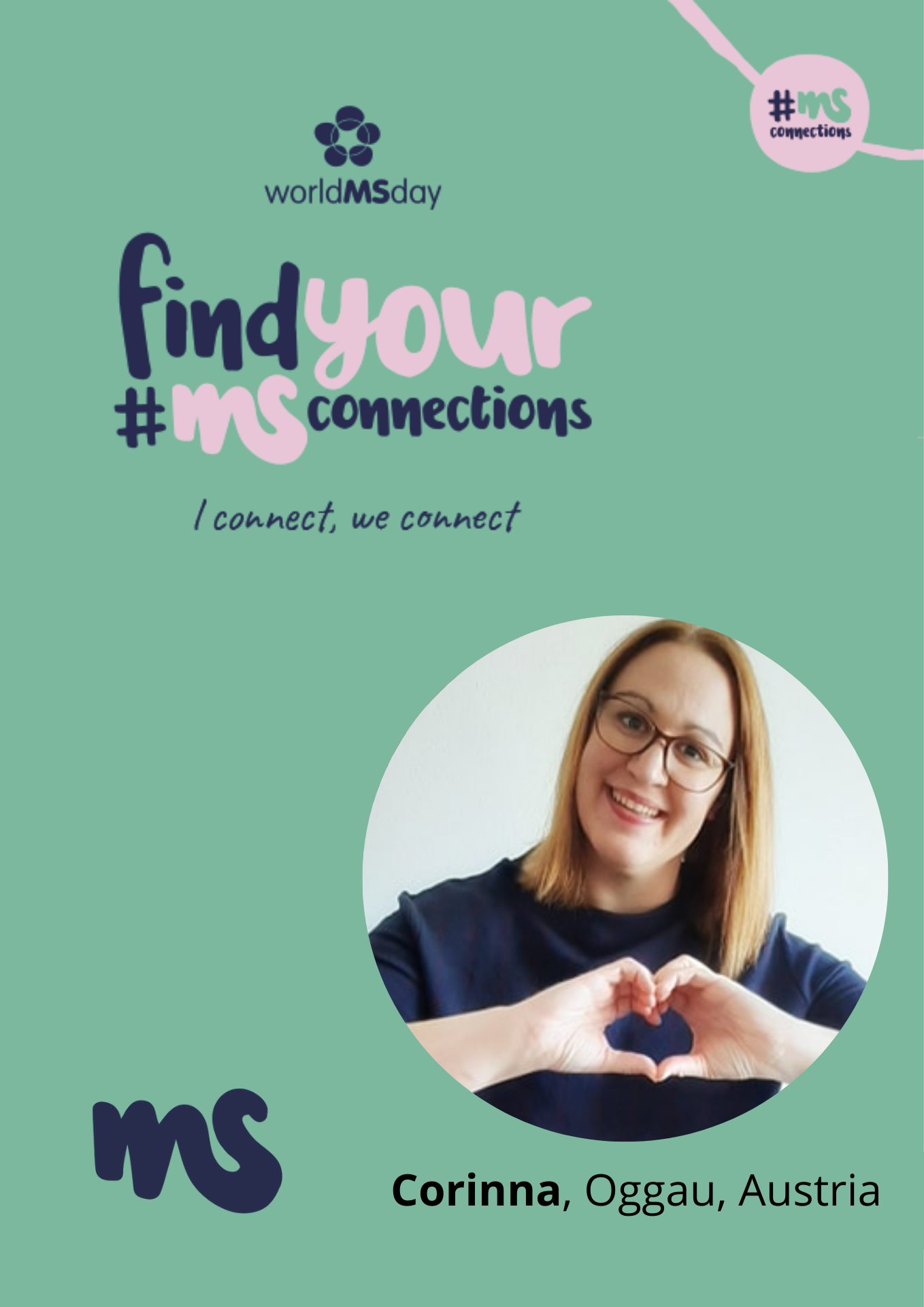 türkises Rechteck mit Bild von Corinna, Oggau, Austria, Text: find your #MSConnections