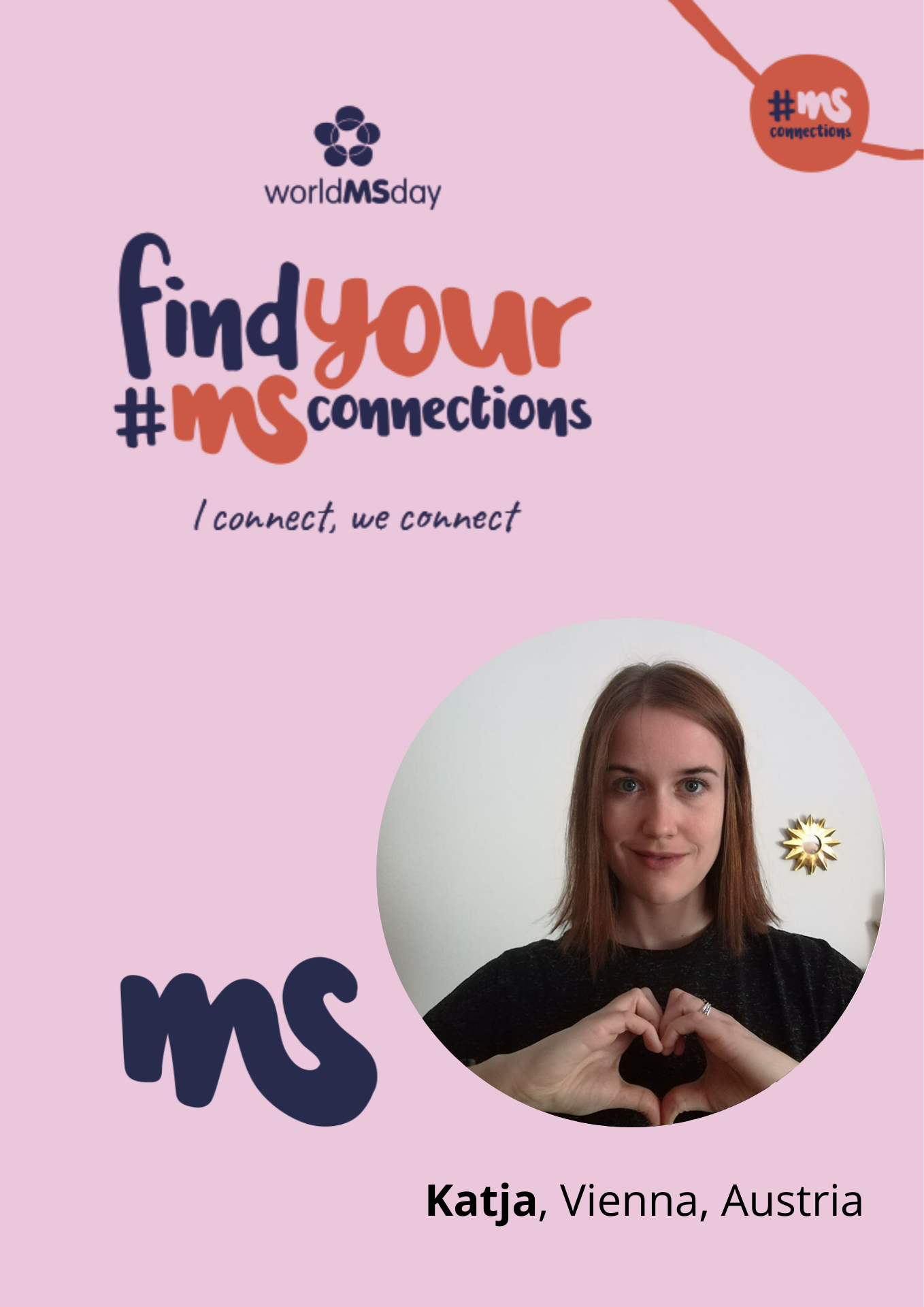 Rechteck mit Bild von Katja, Vienna, Austria, Text: find your #MSConnections